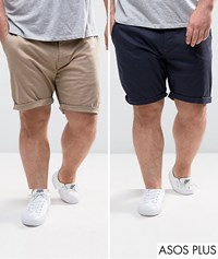 Asos Plus 2 Pack Slim Chino Shorts In Stone And Navy Save Navy Stone Multi