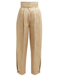 Givenchy Pleated Waist High Rise Twill Trousers Beige