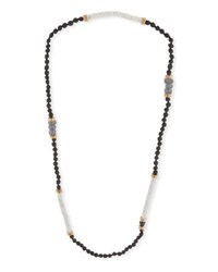 Akola Long Moonstone Beaded Necklace Black White