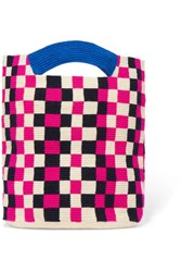 Sophie Anderson Mila Checked Woven Tote Pink