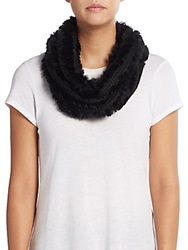 Saks Fifth Avenue Knit Rabbit Fur Infinity Scarf Black
