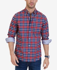 Nautica Men's Classic Fit Wrinkle Resistant Stretch Plaid Shirt Jay Navy