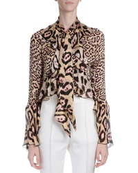 Givenchy Ruffled Silk Button Blouse Pink Leopard