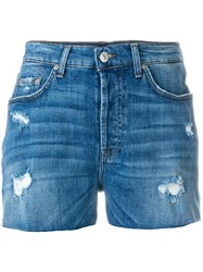 7 For All Mankind Distressed Denim Shorts Blue