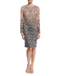 Pamella Roland Long Sleeve Beaded Ombre Cocktail Dress Pink Gray
