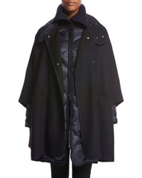 Moncler Dianthus Wool Knit Cape W Puffer Jacket Navy