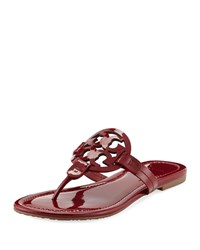 Tory Burch Miller Medallion Patent Leather Flat Thong Sandals Dark Red Stone