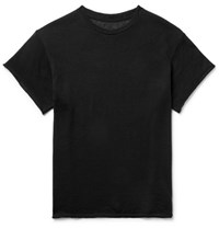 The Elder Statesman Knitted Cashmere And Silk Blend T Shirt Black