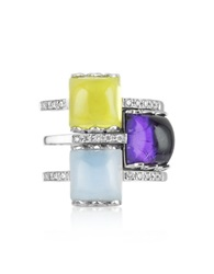 Mia And Beverly Gemstone And Diamond 18K White Gold Ring Multicolor