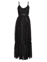 Valentino Tiered Sangallo Lace Dress Black
