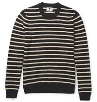 Nn.07 Nn07 Mike Striped Woo Sweater Midnight Bue Midnight Blue
