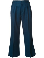 Loveless Flared Cropped Trousers Blue
