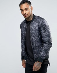 Replay Camo Quilted Bomber Jacket Black Grey