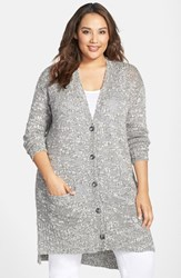 Plus Size Women's Caslon Long Slub V Neck Cardigan Grey Wandering Pattern
