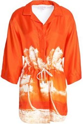 Orlebar Brown Paneled Printed Silk Twill Coverup Bright Orange