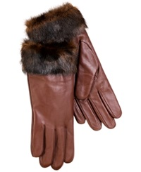 Charter Club Leather With Faux Fur Cuff Gloves Pewter