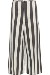 Joseph Brodie Cropped Striped Cotton And Silk Blend Wide Leg Pants White