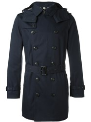 Burberry Brit Hooded Trench Coat Blue