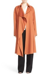 Hugo Boss Cascade Front Wool And Cashmere Coat Orange