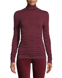 Nic Zoe Turtleneck Long Sleeve Scrunched Up Top Amaranth