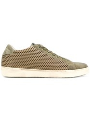 Leather Crown Perforated Lace Up Sneakers Green
