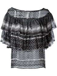 Plein Sud Jeanius Ruffled Pattern Blouse Black