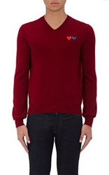 Comme Des Garcons Play Men's Double Heart Patch Wool Sweater Red