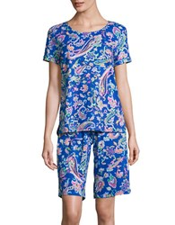 Lauren Ralph Lauren Paisley Tee And Bermuda Shorts Pajama Set Blue Paisley