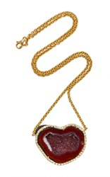 Kimberly Mcdonald Red Heart Shaped Geode And Diamond Pendant