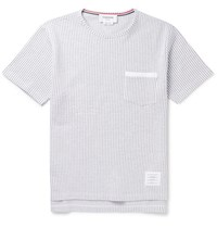 Thom Browne Ribbed Cotton Seersucker T Shirt Gray