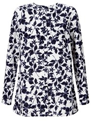 John Lewis Collection Weekend By Smudge Floral Print Collarless Shirt White Blue