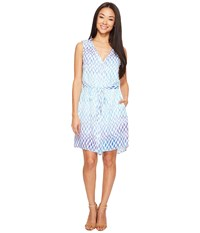 Hatley Split Neck Shirtdress Sunbleached Ikat Women's Dress Blue