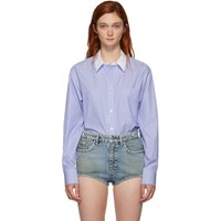 Alexander Wang Blue And White Button Down Bodysuit