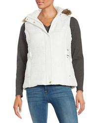 Weatherproof Faux Fur Trim Puffer Hooded Vest White