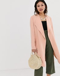 Miss Selfridge Duster Coat In Pink Yellow