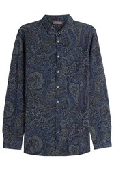 Etro Printed Cotton Shirt Blue
