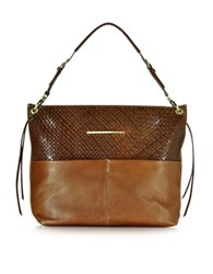 Francesco Biasia Creola Large Woven Leather Shoulder Bag Brown