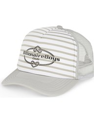 Billionaire Boys Club Logo Striped Trucker Cap Lt Grey