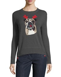 Lisa Todd Holiday Bulldog Cashmere Sweater Charcoal