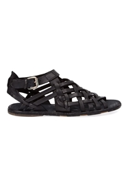 Officine Creative Buckled Woven Sandals Black