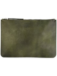 Orciani Large Zip Clutch Green
