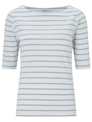 John Lewis Breton Stripe Half Sleeve T Shirt White Sea Green