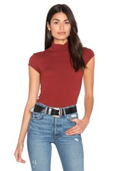 Enza Costa Cap Sleeve Turtleneck Top Rust