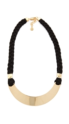 Tory Burch Screw Rivet Rope Necklace Black Shiny Gold