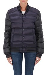 Moncler Women's Colorblocked Varsity Puffer Jacket Green