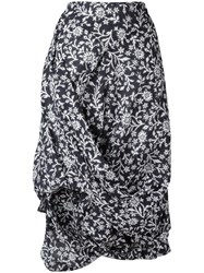 Vivienne Westwood Anglomania Floral Draped Skirt Blue