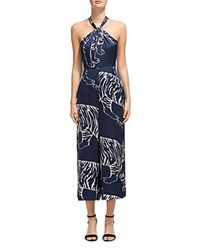 Whistles Sophia Tiger Print Silk Jumpsuit Blue White
