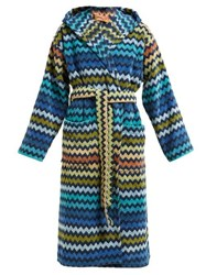 Missoni Home Warner Chevron Striped Cotton Terry Hooded Robe Blue Multi