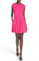 Speechless Women's Cap Sleeve Skater Dress Bright Pink