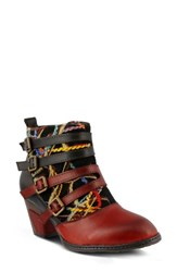 L Artiste Women's L'artsite Redding Bootie Red Multi Leather
